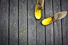 Stivali gialli Fotografie Stock