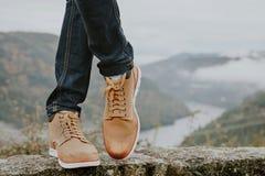 Stivali nella priorità alta sul panoramico Fotografia Stock Libera da Diritti