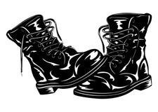 Stivali neri dell'esercito Fotografia Stock Libera da Diritti