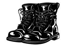 Stivali neri dell'esercito Immagini Stock Libere da Diritti