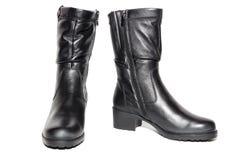Stivali neri di cuoio del ` s delle donne Immagini Stock Libere da Diritti