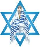 Stjärna av David Rabbi With Talit Arkivfoto