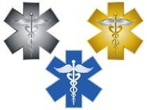 Stjärna av illustrationen för symbol för livCaduceus den medicinska Arkivbild