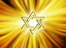 Stjärna av judisk David Gold guling 3D Stock Illustrationer