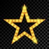 Stjärna av skylten för vektor för lightbulblampneon stock illustrationer