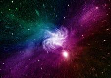 Stjärna-, damm- och gasnebulosa i en avlägsen galax Royaltyfria Bilder