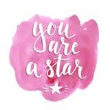 stjärna dig Hand dragen typografiaffisch Arkivfoto