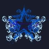 stjärna för blommagrungeprydnad royaltyfri illustrationer
