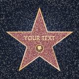 Stjärna hollywood Ljus vektorstjärna på kändisboulevarden berömmelse hollywood går Blänka stjärnan med kameran på mörker royaltyfri illustrationer