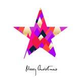 Stjärna med kulöra trianglar Glad julkort vektor illustrationer