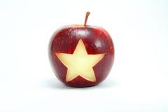 Stjärna på äpplet Arkivbilder