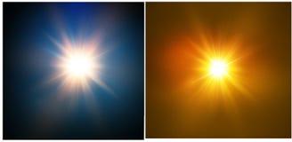 Stjärna på en blå bakgrund ljus exponering Realistisk bristning med signalljuset också vektor för coreldrawillustration Arkivbilder