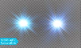Stjärna på en genomskinlig bakgrund, ljus effekt, illustration bristningen med mousserar Royaltyfria Bilder