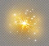 Stjärna på en genomskinlig bakgrund, ljus effekt, illustration bristningen med mousserar Arkivfoto