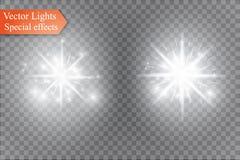 Stjärna på en genomskinlig bakgrund, ljus effekt, vektorillustration bristningen med mousserar Arkivbild