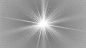 Stjärna på en genomskinlig bakgrund, ljus effekt, vektorillustration bristningen med mousserar stock illustrationer