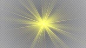 Stjärna på en genomskinlig bakgrund, ljus effekt, vektorillustration bristningen med mousserar Royaltyfri Bild