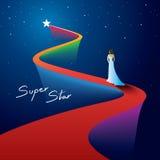 Stjärna på röd matta Royaltyfri Fotografi