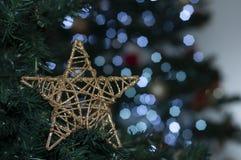 stjärna på trädet med utrymme som skriver julmeddelandet royaltyfria foton