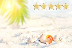 stjärna 5 semestrar avtalet, strand, och seascape, ska göra det Utrymme för text Kunderfarenhetsbegrepp, bästa utmärkt service so arkivfoto