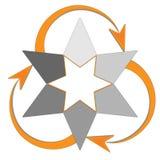 Stjärna som är infographic med pilar i riktning av rotation vektor illustrationer