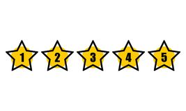 Stjärna som klassar den minsta designsvartlinjen hastighetssymbol för 5 stjärna Återkopplingsbegrepp Utvärderingssystem Positiv g royaltyfri illustrationer