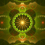 Stjärna som omges av en cirkel och krabba dekorativa strukturer med små stjärnor, alla i glänsande gräsplan, guling som är röd Fotografering för Bildbyråer