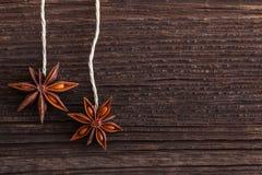 Stjärnaanise på träbakgrund Fotografering för Bildbyråer