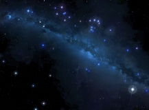 Stjärnabakgrund med den mjölkaktiga vägen Arkivfoto