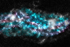 Stjärnafält, färgrik nebulosa, utrymmebakgrund Arkivbilder