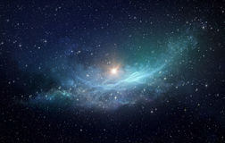 Stjärnafält och nebulosa i yttre rymd arkivfoton