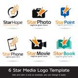 Stjärnamassmedia Logo Template Design Vector Vektor Illustrationer