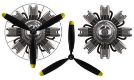 stjärnamotor för hög makt 3d med propellern Arkivbilder