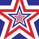 Stjärnan med amerikanska flaggan färgar bakgrund Arkivfoton