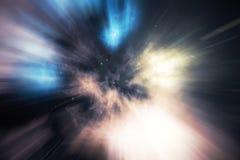 Stjärnan snedvrider, eller Hyperspace, snedvrider abstrakt begrepphastighetstunnelen i utrymme Över universumet tolkning 3d Arkivfoto