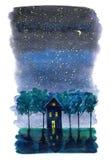 Stjärnanatt med månevykortet Royaltyfria Foton