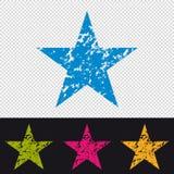 Stjärnasymbol - skyddsremsa för gummistämpel - färgrik vektorillustration - som isoleras på genomskinlig och svart bakgrund royaltyfri illustrationer