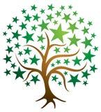 Stjärnaträdlogo royaltyfri illustrationer