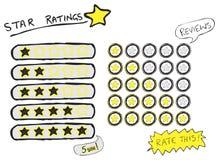 Stjärnavärderingar skissar Royaltyfri Fotografi