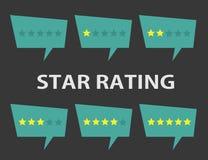 Stjärnavärderingsuppsättning Positiv och negativ återkoppling Vektorillustrat Royaltyfri Bild