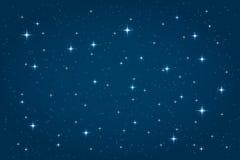 Stjärnklar bakgrund för blå natt vektor illustrationer