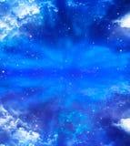 Stjärnklar himmel för abstrakt blå bakgrund Arkivbild