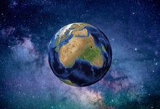 Stjärnklar himmel för jordplanet Arkivfoton