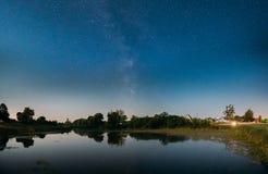 Stjärnklar himmel för natt med Vintergatangalaxen ovanför ryssby Glöda för natt Arkivbild