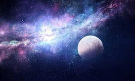 Stjärnklar himmel och måne Blandat massmedia Royaltyfri Fotografi