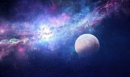 Stjärnklar himmel och måne Blandat massmedia Arkivbild