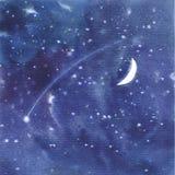 Stjärnklar himmelbakgrund för vattenfärg Royaltyfri Foto