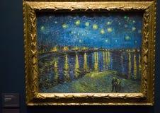 Stjärnklar natt över Rhonen av Vincent van Gogh Royaltyfri Fotografi