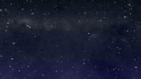 Stjärnklar natt med den Wispy molnöglan arkivfilmer