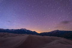 Stjärnklar natt på stora sanddyn Fotografering för Bildbyråer